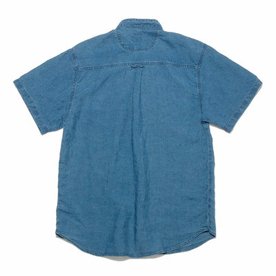Stand Collar Short Sleeve Shirt - Indigo