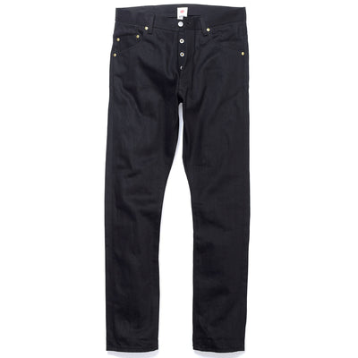 PRE-ORDER 033 14oz BLK x BLK High Rise Tapered Slim Leg Fit Jeans