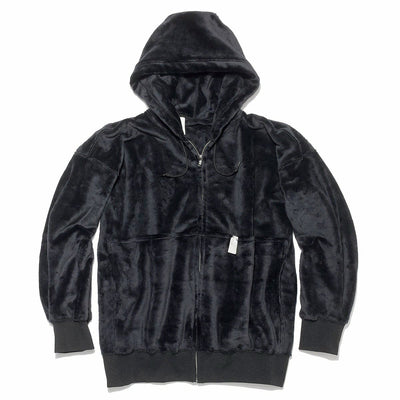 Hooded Fleece Parka in Black