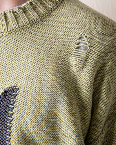 5G Cotton Knit CROSS Crew Sweater - Light Khaki