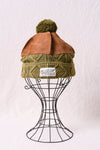 5G Cotton Cable Knit x Leather HIMALAYAN Cap - Khaki