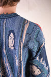 7G Knit VIRGIN MARY GAUDY Crew Sweater - Blue