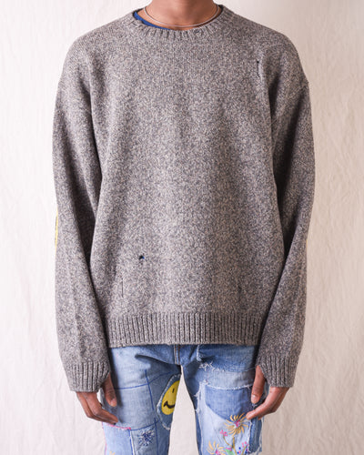 7G Wool SMILE Crew Sweater - Grey
