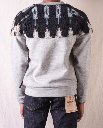 TOP Fleece Knit x BOA Fleece NORDIC SWT - Black x Sax
