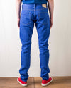 BRT-013 14oz Bright Blue Denim Slim Tapered Blue In Green Version