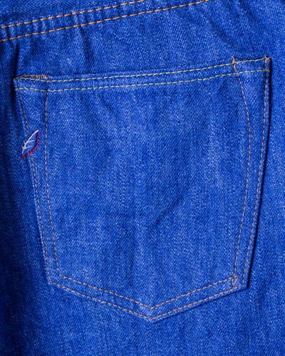 BRT-019 14oz Bright Blue Denim Relaxed Tapered Blue In Green Version