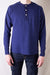 Combed Yarn High Tension Honeycomb Thermal Henley - French Navy Blue