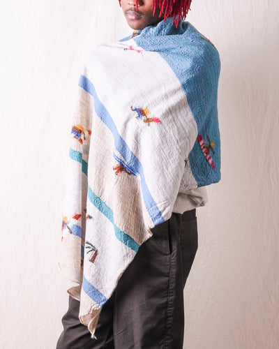 Compressed Wool Scarf Surf - Turquoise