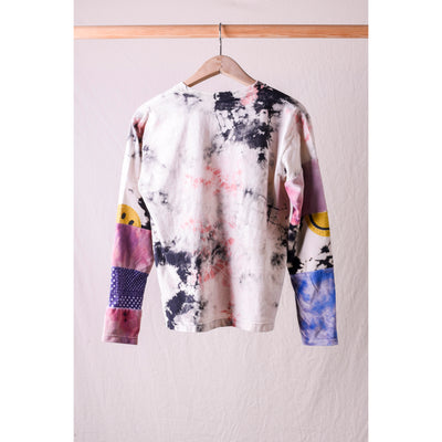 Crazy Patchwork Hippie L/S T (ASHBURY DYED) - White x Pink