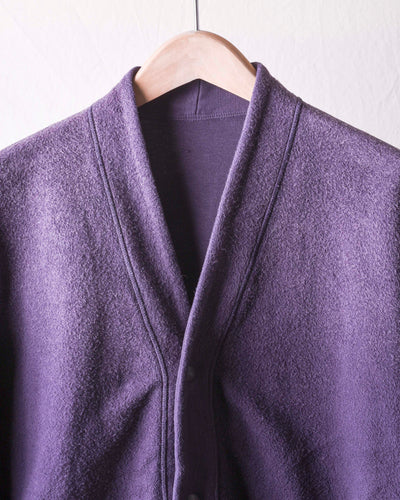 Vintage Fleecy Knit Reversible Cardigan - Purple