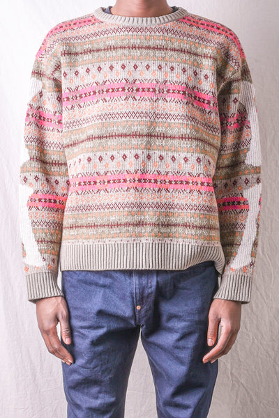 7G Wool Fair Isle BONE Crew Sweater - Grey Beige
