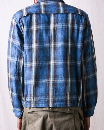 Fiction Romance 9oz Cotton Check Sports Jacket - Blue