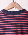 Hemp Blend Indigo Stripe Crew Tee - Red