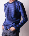 Hemp Blend Indigo Stripe Crew Tee - Blue