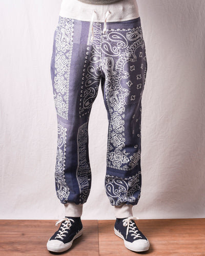 Fleecy Knit Bandana Sweat Pants - Purple Navy