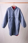 Double Weave Denim x Quilting Sloppy Shirt Coat - Indigo