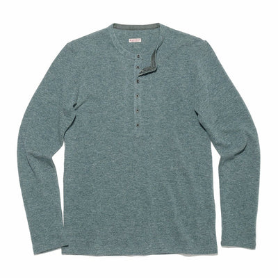 Lambs Wool Jersey Henley T - Turquoise