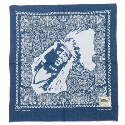 Indigo Discharge Dye Selvedge Bandana (CHIEF)