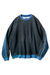 Fleece Knit x Denim Quilting NAVY 2TONES BIG SWT - Black x Indigo