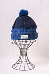 5G Cotton Cable Knit x Leather HIMALAYAN Cap - Navy