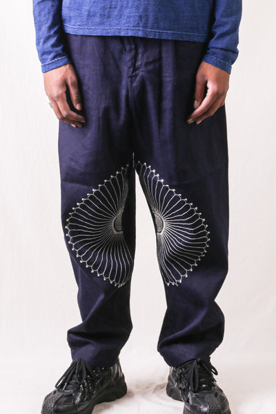 8oz IDG x IDG Denim High Waist NIME Pants (FUROSHIKI Embroidery)