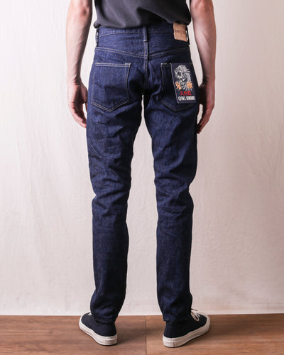 ONI-679KIWAMI 16oz Natural Indigo Spike Tapered Jeans