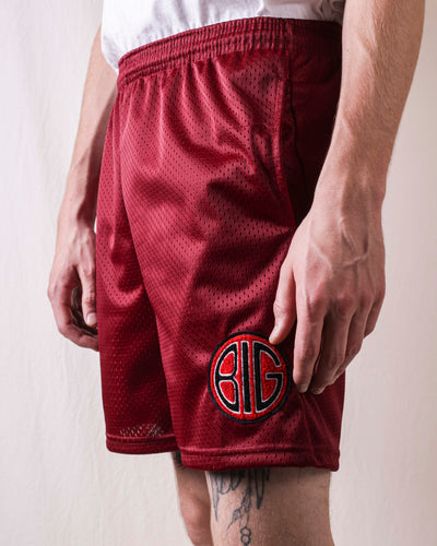 BIG Mesh Shorts With Pocket - Burgundy