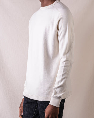 Twill Face Knit L/S Crewneck - Vintage Ivory