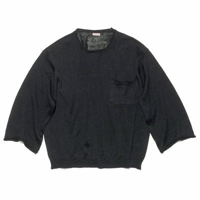 8G Linen BIG Crew Sweater in Black