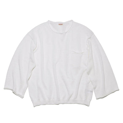 8G Linen BIG Crew Sweater in White