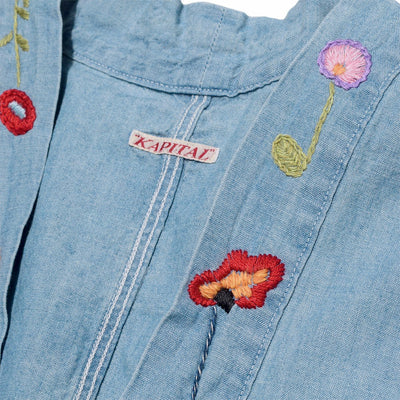 Chambray KAKASHI Shirt (FLOWER Embroidery) in Light Blue