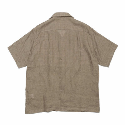 Natural Plant Dyed Linen Aloha Shirt in Brown
