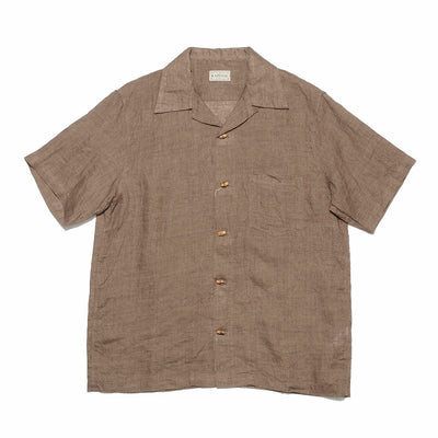Natural Plant Dyed Linen Aloha Shirt in Brown Khaki