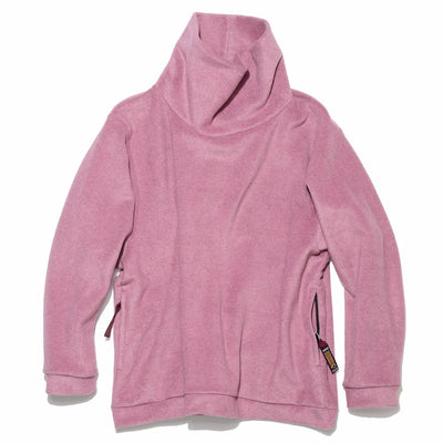 Reverse Fleece BIG High Neck Sweat Shirt in Pink