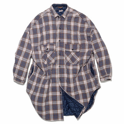 Flannel Check x Quilting Sloppy Shirt Coat in Navy