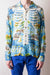Rayon KAMEHAMEHA BONE Open Collar Shirt - Blue