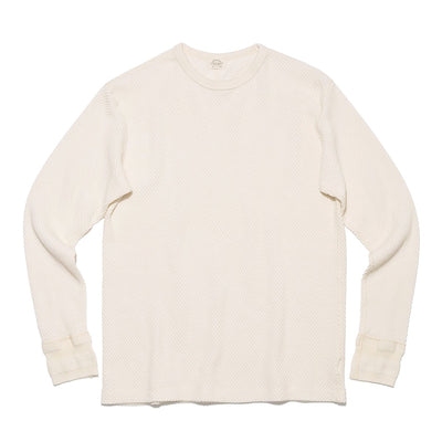 Diamond Mesh Knit Thermal Crewneck in Pearl White