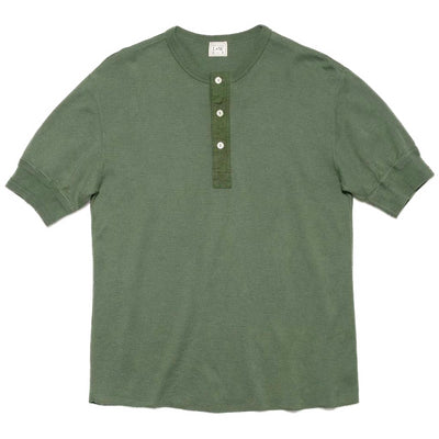 Light Weight Honeycomb Thermal 60s Short Sleeve Henley in Light Olive