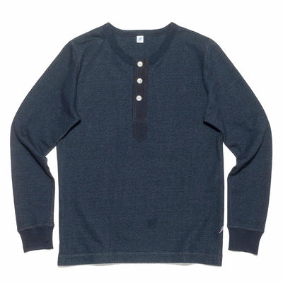Lightweight Indigo Dyed Military Henley Sweatshirt