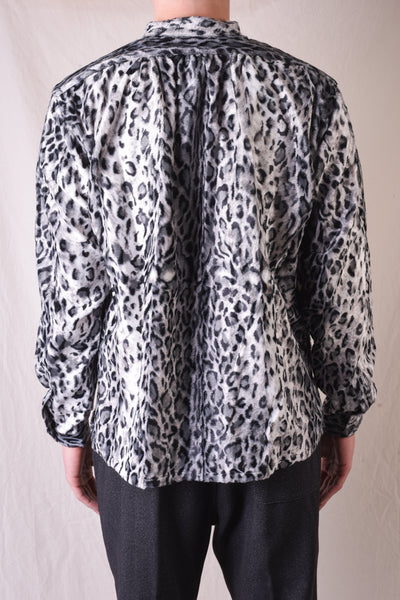 Long Sleeve Leopard Stand Collar Shirt