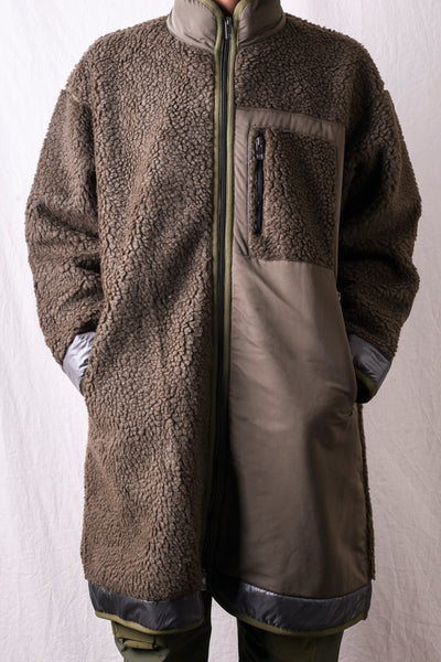 Fleece Long Jacket - Khaki