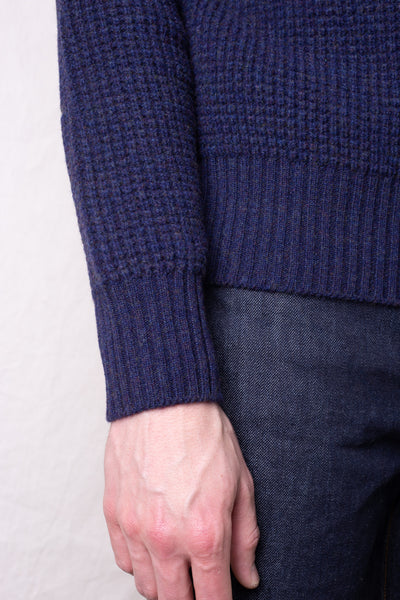 Merino Super Lamb Big Waffle Command Sweater - Ash Navy