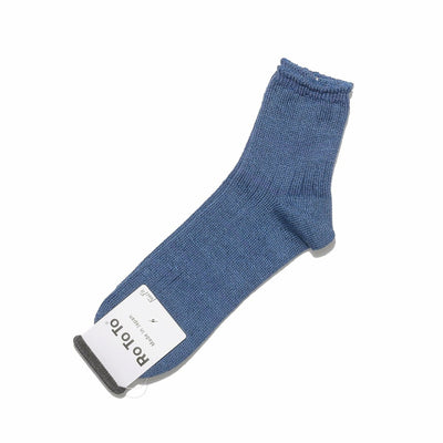 Linen Cotton Rib Socks Mid-Length in Five Colorways