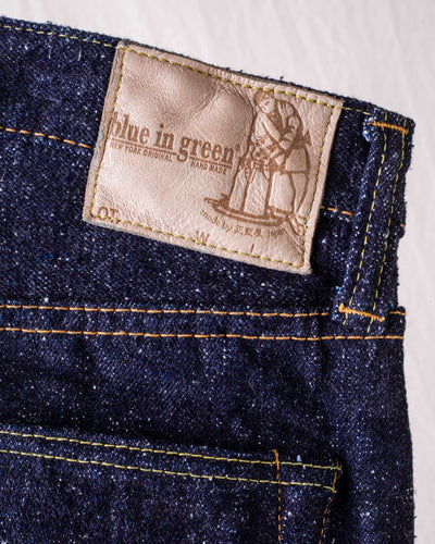SR-019 18oz Super Rough Denim Relaxed Tapered Blue In Green Version