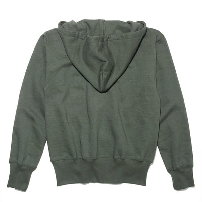 4 Needle Flatseamer Full Zip Hooded Sweat in Moss Green