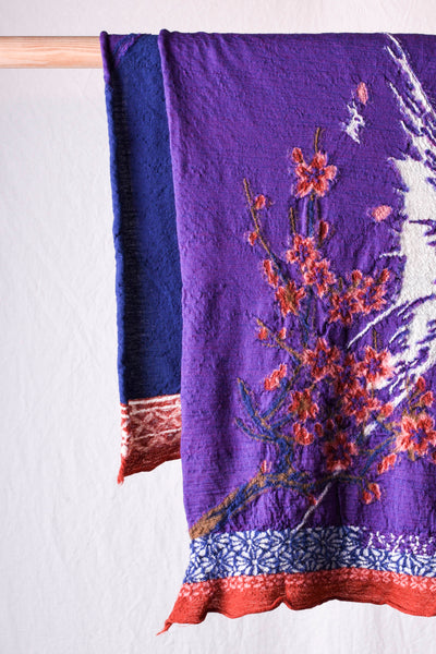 Compressed Wool Scarf SAKURA MIRRORED FUJI - Purple