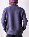 Tompkins Knit Vintage Vertical Striped Mockneck - Purple Navy