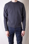 Vintage Jacquard Knit Crewneck Sweatshirt With V-Gusset - Antique Black