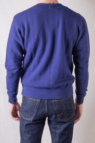 Vintage Jacquard Knit Crewneck Sweatshirt With V-Gusset - French Navy Blue