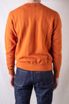 Vintage Jacquard Knit Crewneck Sweatshirt With V-Gusset - Russet Orange
